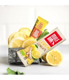 Photo d'ambiance barre et gel citron gingembre Mulebar