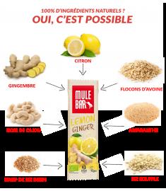 Ingrédients barre citron gingembre Mulebar