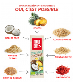 Ingrédients barre Mulebar Ananas coco