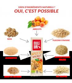 Ingrédients barre Mulebar abricot noix