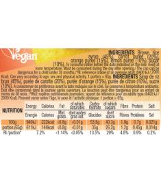 Table nutritionnelle pulpe de fruits  Orange Carotte citron Mulebar