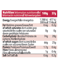 Table nutritionnelle gel Mulebar cerise