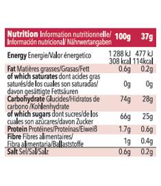 Table nutritionnelle recharge de gel Mulebar Cerise