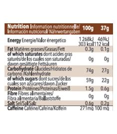 Table nutritionnelle de gel Mulebar Café