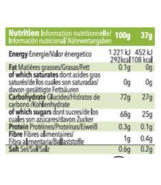Table nutritionnelle recharge de gel Mulebar à la Pomme