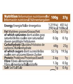 Table nutritionnelle recharge de gel Mulebar au Caramel salé