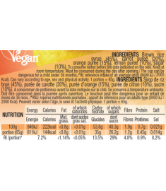 Mulebar organic and plant based Orange Carrot and Lemon puree ingredients and nutritional values