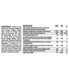 Table nutritionnelle et ingrédients barre tomate romarin Mulebar