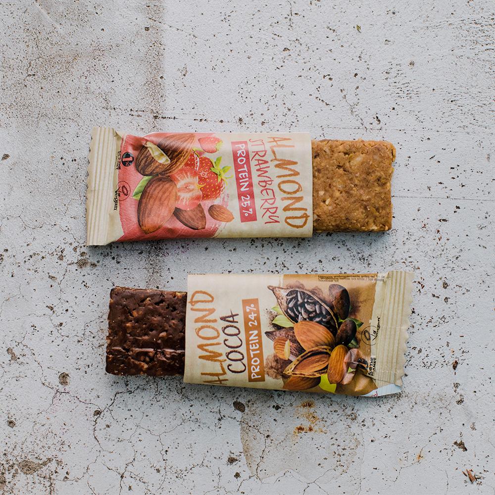 Barres proteinées amande cacao et fraise